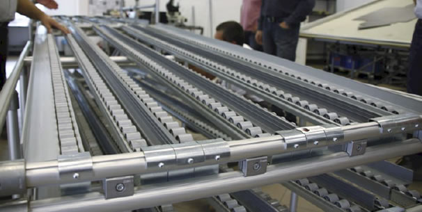 FIFO rack with roller conveyor in production
